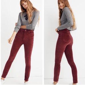 Madewell High Rise Burgundy Velvet Skinny Jeans 23